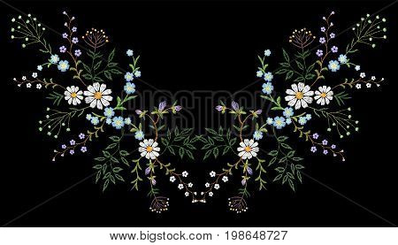 Embroidery trend floral pattern small branches herb daisy with little blue violet flower. Ornate reflection folk fashion patch design neckline blossom on black background vector illustration art