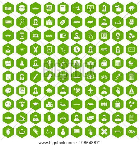 100 initiation icons set in green hexagon isolated vector illustration