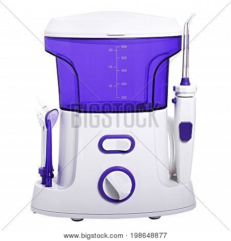 Compact Blue Oral Irrigator Of The Oral Cavity Intended For Washing The Garbage And Soft Dental Patc