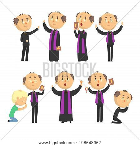 Cartoon catholic priest reading prayer, blessing parishioners, holding Cross, Bible and Gospel set of vector Illustrations isolated on white background