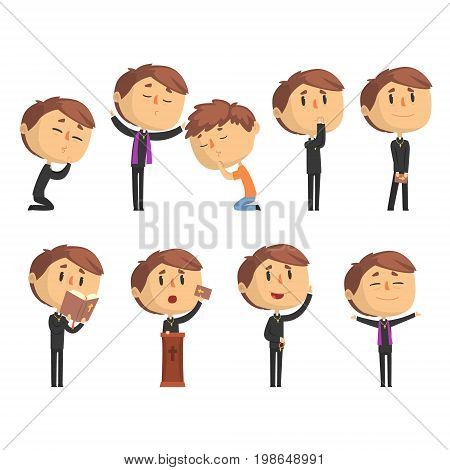 Young cartoon catholic priest reading prayer, blessing parishioners, holding Cross, Bible and Gospel set of vector Illustrations isolated on white background