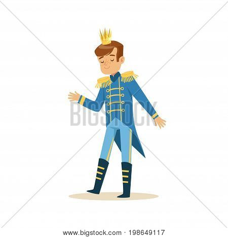 Cute little boy wearing a blue prince costume, fairytale costume for party or holiday vector Illustration isolated on a white background