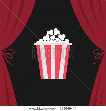 Popcorn box. Open luxury red silk stage theatre curtain. Velvet scarlet curtains with bow. Fast food. Flat design. Movie night cinema premiere icon. Template. Black background. Vector illustration