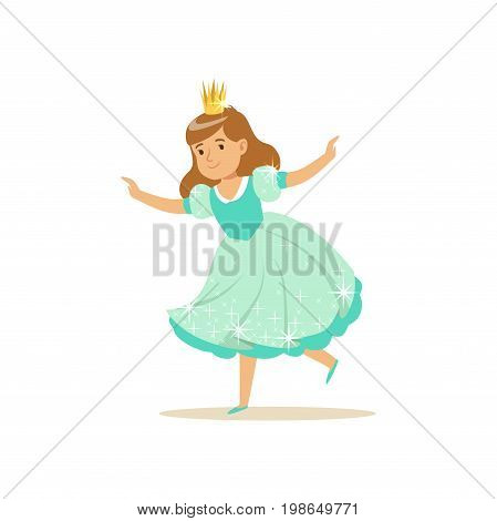 Beautifull little girl princess in a light blue ball dress and golden crown, fairytale costume for party or holiday vector Illustration isolated on a white background