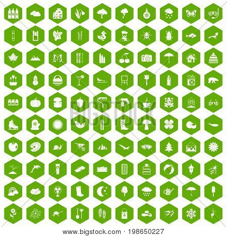 100 landscape icons set in green hexagon isolated vector illustration