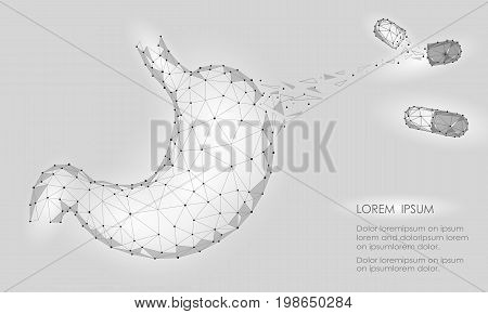 Human healthy medicine drug treatment stomach. Internal digestion organ. Low poly connected dots gray white triangle future technology design background vector medicine illustration art