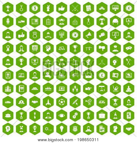 100 leadership icons set in green hexagon isolated vector illustration