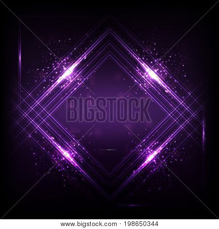 Sound waves oscillating dark purple light, Abstract technology background. Vector.
