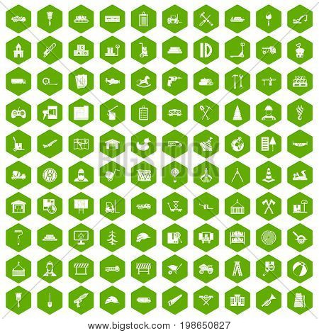 100 lorry icons set in green hexagon isolated vector illustration