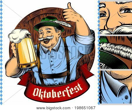 Man holding glass of beer in traditional german bavarian clothes Trachtenhut Lederhosen on beer festival Oktoberfest. The thumbs-up gesture. Vector ink hand drawing vintage character for color print.