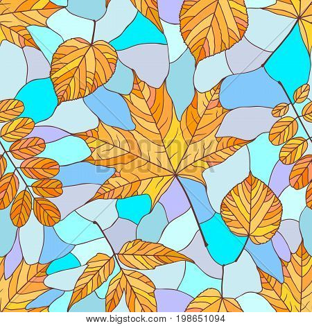 Seamless pattern with autumn leaves. Seamless background with maple acacia acer and linden leaves in stained glass style