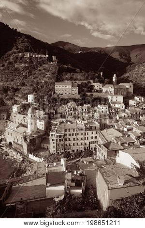 Aerial view of buildings in Vernazza, one of the five villages in Cinque Terre, Italy.