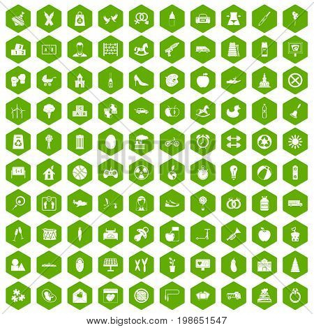 100 maternity leave icons set in green hexagon isolated vector illustration