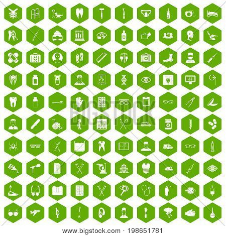 100 medical treatmet icons set in green hexagon isolated vector illustration