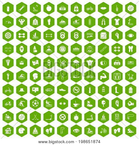 100 men health icons set in green hexagon isolated vector illustration