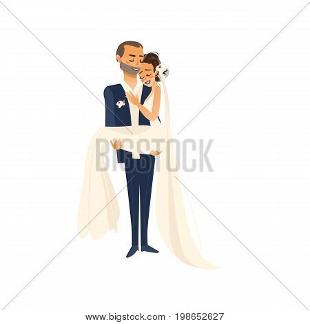 vector groom groom carrying bride holding her in his arms flat cartoon illustration isolated on a white background. Wedding concept character design