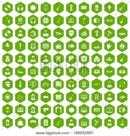 100 music icons set in green hexagon isolated vector illustration
