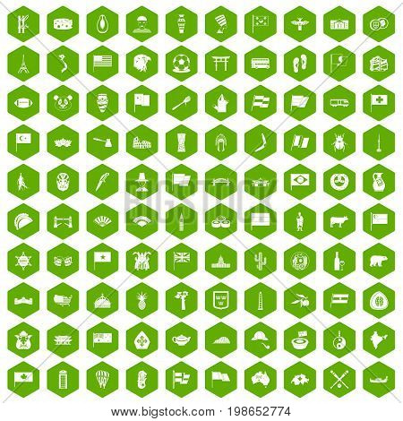 100 national flag icons set in green hexagon isolated vector illustration