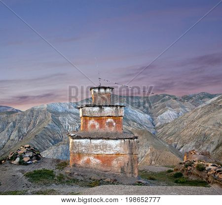 Ancient Bon stupa in Saldang village, Nepal. Saldang lies in Nankhang Valley the most populous of the sparsely populated valleys making up the culturally Tibetan region of Dolpo.