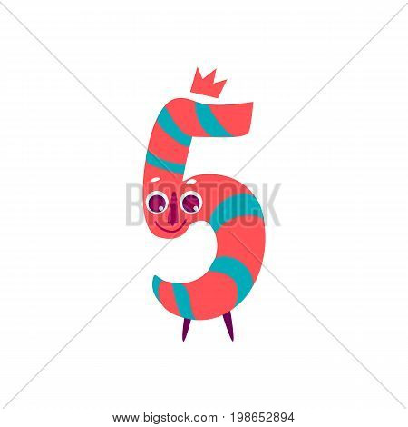 Vector cute animallike character number five 5. Flat cartoon illustration on a white background. Happy birthday, new year decorative numbers. Funny smiling colored math, education symbols