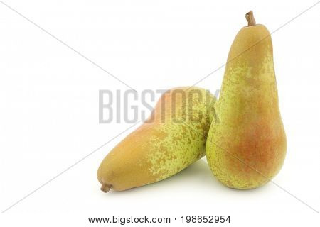 two fresh abate pears on a white background poster