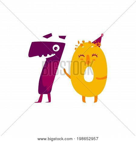 vector cute animallike character number flat cartoon illustration on a white background happy birthday