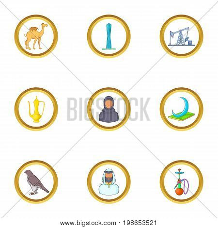 UAE symbols icons set. Cartoon set of 9 UAE symbols vector icons for web isolated on white background
