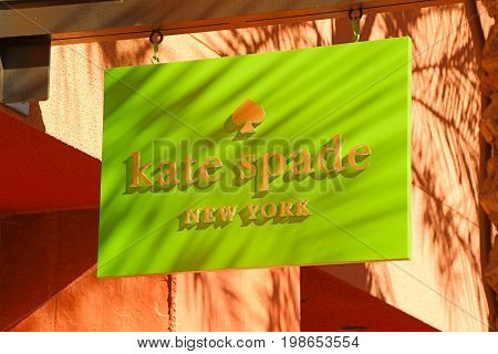 LAS VEGAS, NEVADA - October 11, 2016: Kate Spade Logo On Store Front Sign in the famous Premium outlet North at Las Vegas,NV.