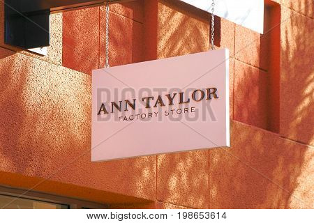 LAS VEGAS, NEVADA - October 11, 2016: ANN TAYLOR Logo On Store Front Sign in the famous Premium outlet North at Las Vegas,NV.