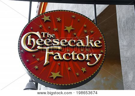 LAS VEGAS, NEVADA - October 11, 2016: the Cheesecake factory Logo On Store Front Sign in the famous Premium outlet North at Las Vegas,NV.
