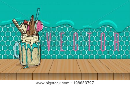 cartoon Style Milkshake with waffles strawberries and ice cream. wooden table and mint background. Hand Drawn Creative Dessert. vector illustration
