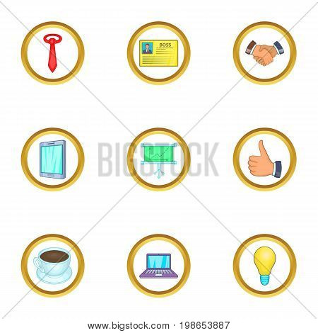 Business event icons set. Cartoon set of 9 business event vector icons for web isolated on white background