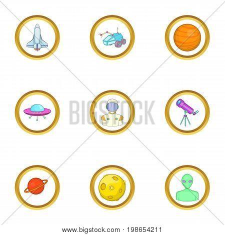 Cosmonaut icons set. Cartoon set of 9 cosmonaut vector icons for web isolated on white background
