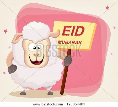 Eid Mubarak - traditional Muslim greeting used on the festivals of Eid al-Adha and Eid al-Fitr.. Greeting card with funny sheep holding placard. Vector illustration on abstract background.