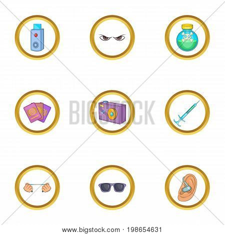 Hitman icons set. Cartoon set of 9 hitman vector icons for web isolated on white background