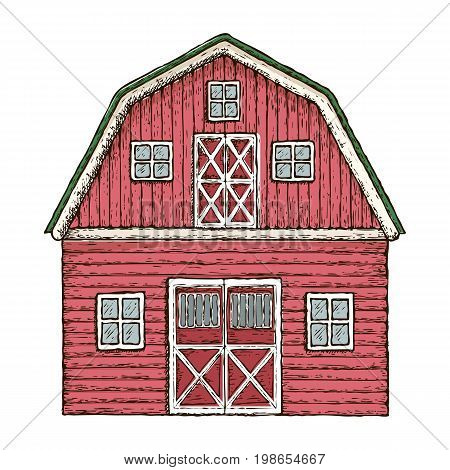 Farming barn. Red wooden farm house, colorful sketch illustration. Vector