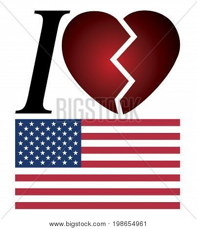 I no longer love America. Concept sign to express the disappointment about the present situation in the US