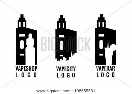 Set of vaping logo. Stamp, emblem or badge. Stock vector