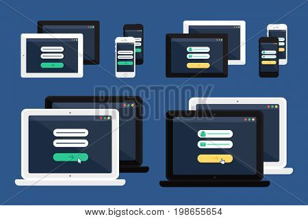Adaptive Web Template and Gadget Elements for site form of email subscribe, newsletter or login to account, submit on Smartphone, Tablet, Notebook. Flat minimalistic pad, phone, laptop mockups. Vector
