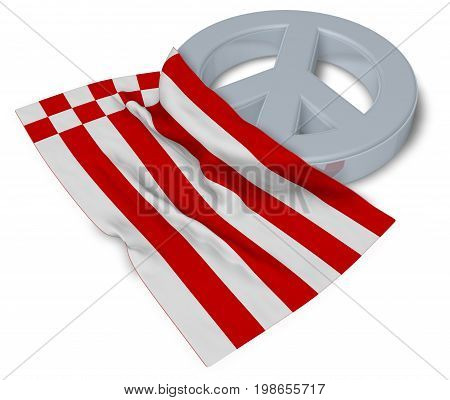 peace symbol and flag of bremen - 3d rendering