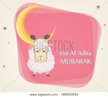 Festival of sacrifice Eid al-Adha. Traditional muslin holiday. Greeting card with funny sheep hanging on the moon. Vector illustration on abstract background.
