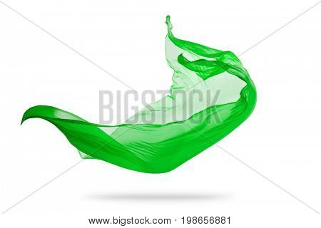 Smooth elegant green transparent cloth separated on white background. Texture of flying fabric. Very high resolution image