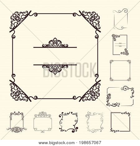 Vector Decorative Elements For Design. Frame Templates Set. Fine Floral Border. Lace Decor. Elegant