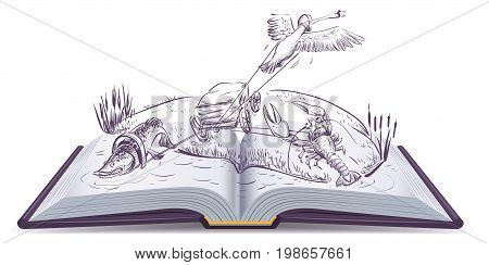 Open book Fable of swan pike and crawfish. Isolated on white vector cartoon illustration
