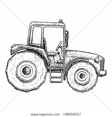 Farming tractor, sketch illustration. Farming agricultural machine Vector