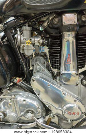 Serdang, Selangor Malaysia - July 29,2017 : Close-up Shot Motor Of A Bantam Super (bsa) Bike During