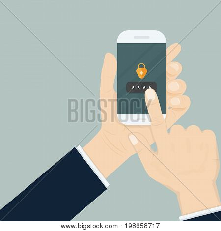Hand holding smartphone while entering the password.Mobile phone unlocked notification button and password signsmartphone securitypersonal accessuser authorization login and protection technology.Vector illustration