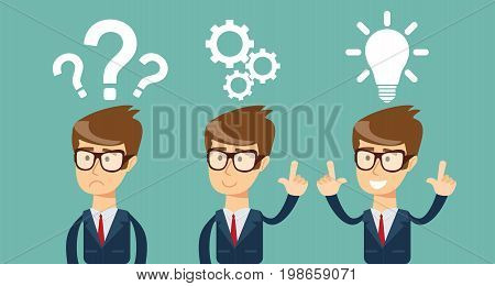 Thinking. Businessman solving a problem business concept . Stock vector illustration for poster, greeting card, website, ad, business presentation, advertisement design.