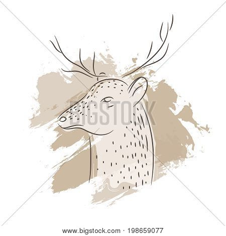 Vector illustration isolated deer with brown stripes on white background. Background with wild animal. Vector stylized deer head