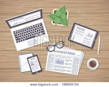 Wooden table with daily news on newspaper, tablet, laptop and phone. Headlines, photos, articles on the screens. Many ways to get latest news. Vector illustration, top view.